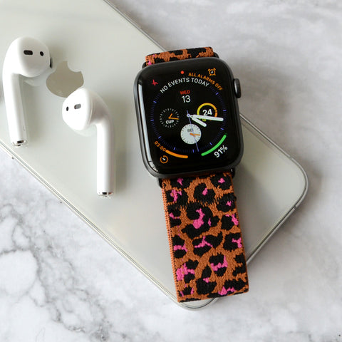 Tefeca Cheetah/leopard Pattern Elastic Apple Watch Band 38mm/40mm  42mm/44mm - TOLB2