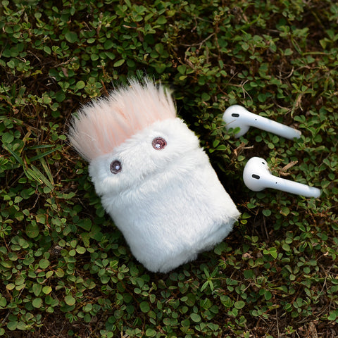 Tefeca nomchi compatible white fluffy cute cartoon figure protective case with key chain for Airpods 2&1