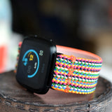 Tefeca Colorful Braided Pattern Stretch Elastic For Fitbit Versa/Versa 2/ Versa Lite/Versa SE - CBDE