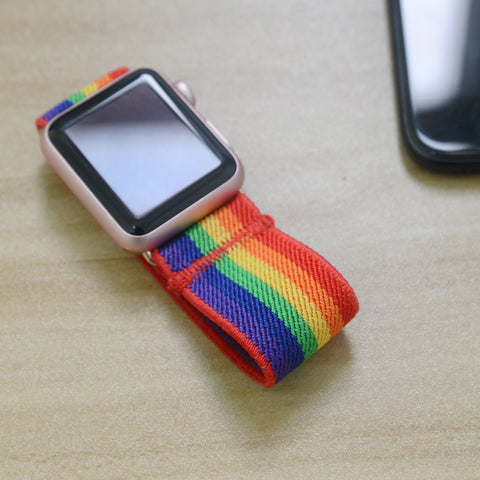 Tefeca Rainbow Colorful Stripe Elastic Apple Watch Band 38mm/40mm  42mm/44mm - EDCS