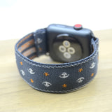 Tefeca Anchor Pattern Grey Stretch Elastic Apple Watch Band 38mm/40mm  42mm/44mm - EAGR