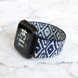 Tefeca Blue Diamond Pattern Woven Elastic Watch Band For Fitbit Versa/Versa 2/ Versa Lite/Versa SE - EBDP