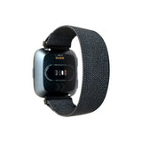 Tefeca Black Colored Stretch Woven Elastic Watch Band For Fitbit Versa/Versa 2/ Versa Lite/Versa SE - EBLW