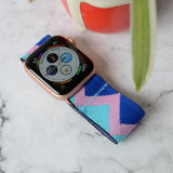 Tefeca Blue tone Triangle Pattern Elastic Apple Watch Band 38mm/40mm  42mm/44mm - EBTP