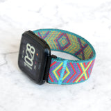 Tefeca Colorful Diamond Pattern Elastic Watch Band For Fitbit Versa/Versa 2/ Versa Lite/Versa SE - ECDP