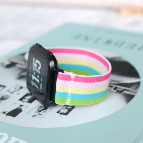 Tefeca Colorful Stripe Stretch Elastic Watch Band For Fitbit Versa - ECS