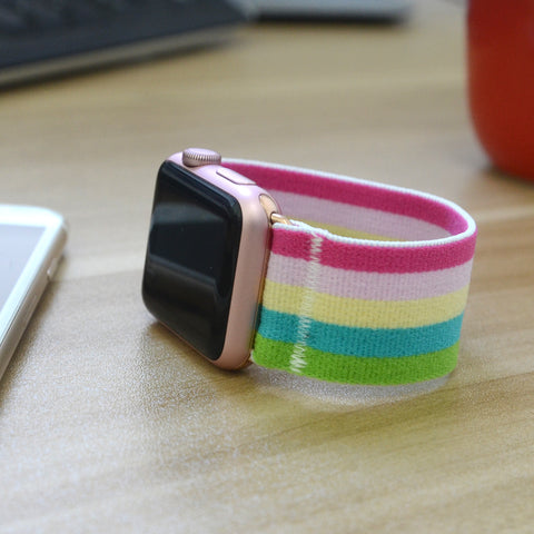 Tefeca Colorful Stripe Elastic Apple Watch Band 38mm 42mm - ECS