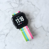 Tefeca Colorful Stripe Stretch Elastic Watch Band For Fitbit Versa/Versa 2/ Versa Lite/Versa SE - ECS