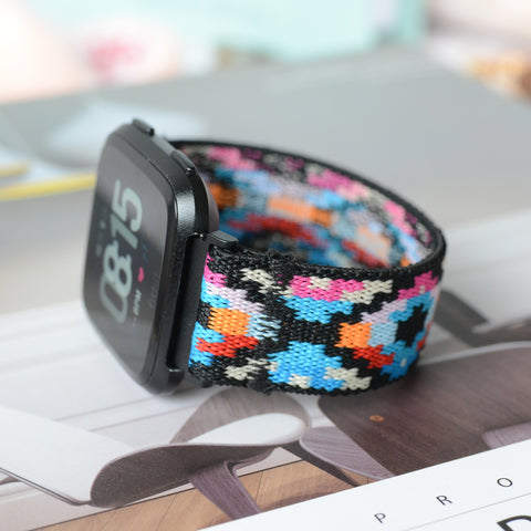 Tefeca Geometry Pattern Stretch Elastic Watch Band For Fitbit Versa - EG