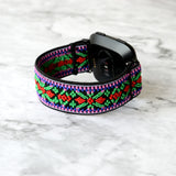 Tefeca Green Embroidery Ethnic Pattern Stretch Elastic Watch Band For Fitbit Versa/Versa 2/ Versa Lite/Versa SE - EGEE