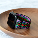 Tefeca Green Embroidery Ethnic Pattern Stretch Elastic Watch Band For Fitbit Versa - EGEE