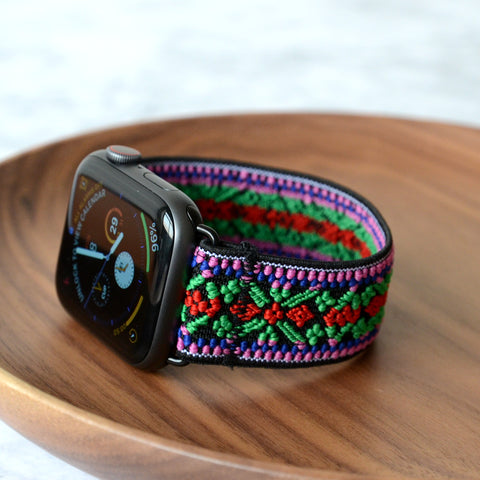 Tefeca Green Embroidery Ethnic Pattern Stretch Elastic Apple Watch Band 38mm/40mm  42mm/44mm - EGEE
