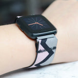 Tefeca Grey Triangle Pattern Stretch Elastic For Fitbit Versa/Versa 2/ Versa Lite/Versa SE - EGTE