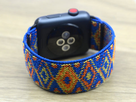 Tefeca Blue Aztec Pattern Stretch Elastic Apple Watch Band 38mm/40mm  42mm/44mm -EA2