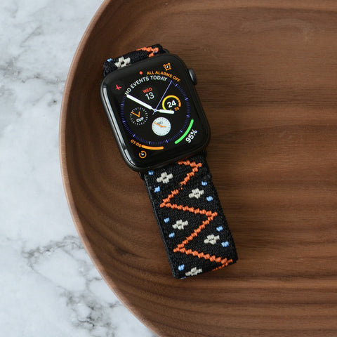 Tefeca Embroidery Polyline Pattern Black Stretch Elastic Apple Watch Band 38mm/40mm  42mm/44mm - EPLB