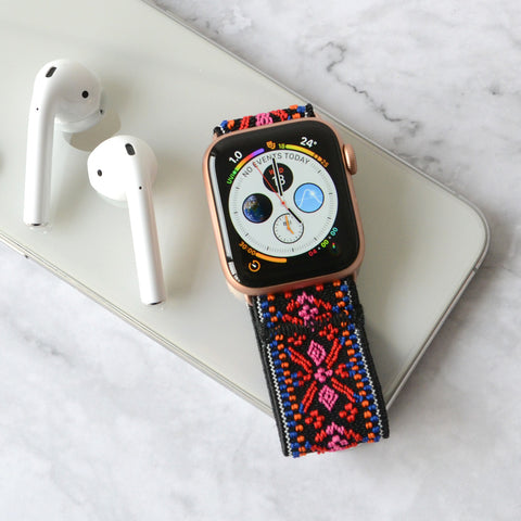 Tefeca Red Embroidery Ethnic Pattern Stretch Elastic Apple Watch Band 38mm/40mm  42mm/44mm  - EREE