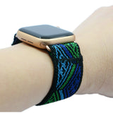 Tefeca Blue Triangle Line Pattern Stretch Elastic Apple Watch Band 38mm/40mm  42mm/44mm - ETLB