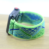 Tefeca Green Triangle Line Pattern Stretch Elastic Apple Watch Band 38mm 42mm - EGTL