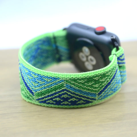 Tefeca Green Triangle Line Pattern Stretch Elastic Apple Watch Band 38mm/40mm  42mm/44mm - EGTL