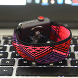 Tefeca Red Triangle Line Pattern Stretch Elastic Apple Watch Band 38mm 42mm - ERTL