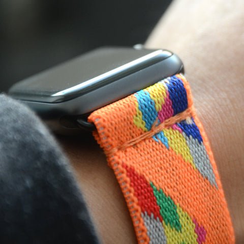 Tefeca Chevron Pattern Orange Stretch Elastic Apple Watch Band 38mm 42mm - EVO