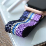 Tefeca Purple Glitter Stripe Pattern Stretch Elastic Apple Watch Band 38mm/40mm  42mm/44mm - EPGSA