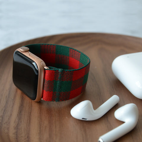 Tefeca Green&Red Plaid Pattern  Elastic Apple Watch Band 38mm/40mm  42mm/44mm - BGPB