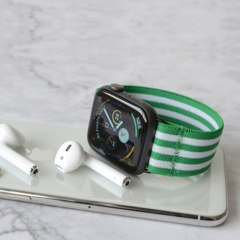 Tefeca Green Stripe Pattern Stretch Elastic Apple Watch Band 38mm/40mm  42mm/44mm - EGSB