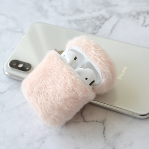 Tefeca compatible pink fluffy cute protective case/sleeve with key chain for Airpods 2&1
