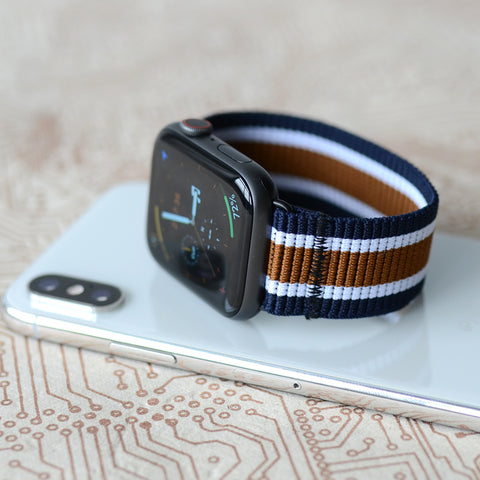 Tefeca Striped Navy Stretch Elastic Apple Watch Band 38mm/40mm  42mm/44mm - SNYE