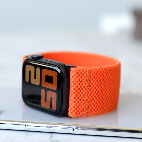 Tefeca Ultra Wide Orange Patterned Elastic Apple Watch Band 38mm/40mm  42mm/44mm - UWOPE