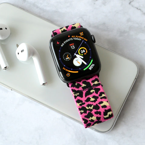 Tefeca Pink Cheetah/leopard Pattern Elastic Apple Watch Band 38mm/40mm  42mm/44mm - TPLB