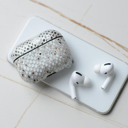 Tefeca Snake pattern Calf Leather protective case for Airpods Pro