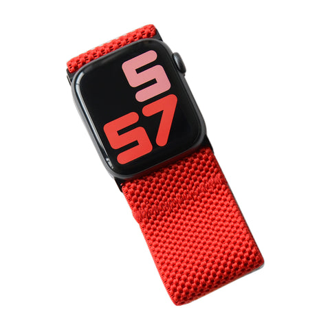 Tefeca Ultra Wide Red Patterned Elastic Apple Watch Band 38mm/40mm  42mm/44mm - UWRPE
