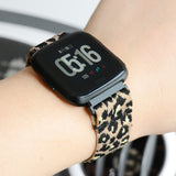 Tefeca Beige Cheetah/leopard Pattern Elastic Watch Band For Fitbit Versa - TBLB