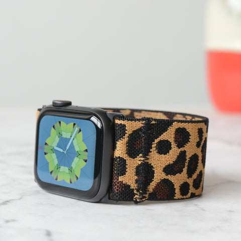 Tefeca Ultra Wide Dark leopard Elastic Apple Watch Band 38mm/40mm  42mm/44mm - UWLPE