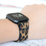 Tefeca Dark Cheetah/leopard Pattern Elastic Watch Band For Fitbit Versa/Versa 2/ Versa Lite/Versa SE - TDLB