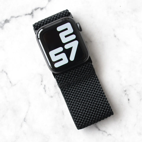 Tefeca Ultra Wide Black Patterned Elastic Apple Watch Band 38mm/40mm  42mm/44mm - UWPE