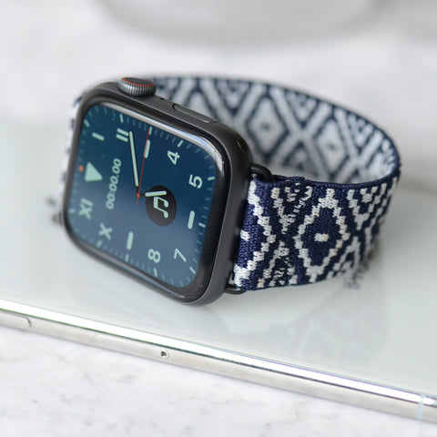 Tefeca Blue Diamond Pattern Woven Elastic Apple Watch Band  38mm/40mm  42mm/44mm - EBDP