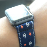 Tefeca Anchor Pattern Blue Stretch Elastic Apple Watch Band 38mm 42mm - EABB