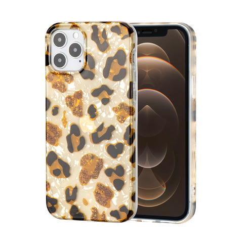 Cheetah/Leopard and Pearl Pattern soft rubber case for iPhone 12