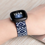 Tefeca Blue Diamond Pattern Woven Elastic Watch Band for Fitbit Versa 3/Fitbit Sense-EBDP