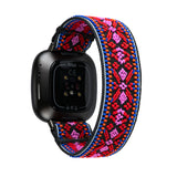 Tefeca Red Embroidery Ethnic Pattern Stretch Elastic for Fitbit Versa 3/Fitbit Sense-EREE