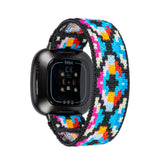 Tefeca Geometry Pattern Stretch Elastic Watch Band for Fitbit Versa 3/Fitbit Sense-EG