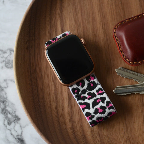 Tefeca White Cheetah/leopard Pattern Stretch Elastic Apple Watch Band 38mm/40mm  42mm/44mm - TWLB