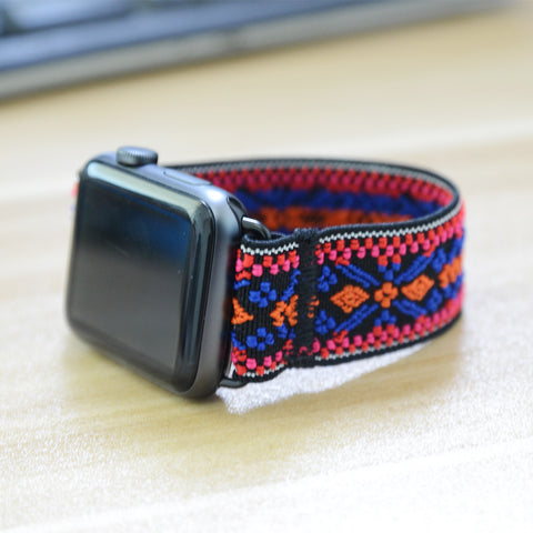 Tefeca Orange and Blue Embroidery Ethnic Pattern Stretch Elastic Apple Watch Band 38mm/40mm  42mm/44mm - EOEE