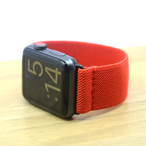 Tefeca Red Colored Stretch Woven Elastic Apple Watch Band 38mm 42mm - EREW