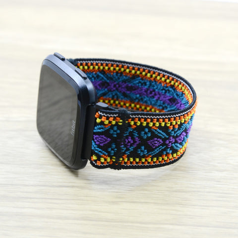 Tefeca Blue Embroidery Ethnic Pattern Stretch Elastic For Fitbit Versa - EBEE
