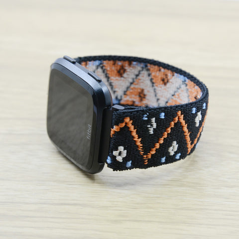 Tefeca Embroidery Polyline Pattern Black Stretch Elastic For Fitbit Versa - EPLB