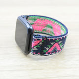 Tefeca Pink V Pattern Stretch Elastic  For Fitbit Versa - EPVB
